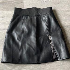 Black Side Zip Leather Mini Skirt